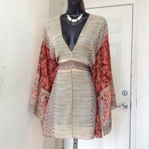 Tops - Plunge Neck Poncho  Kimono Bell Sleeve Top